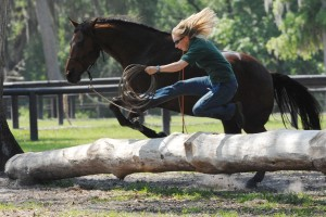 Sally Brett having fun with natural horsemanship