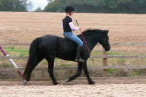 Sally Brett riding bareback and bridleless